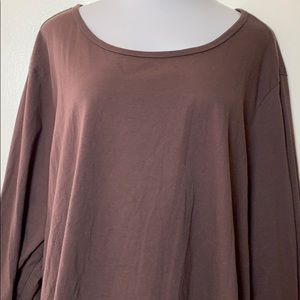 Woman Within Brown Henley Tee 100% Cotton 5X 38/40